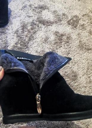 Зимние ботинки с натуральным мехом на танкетке