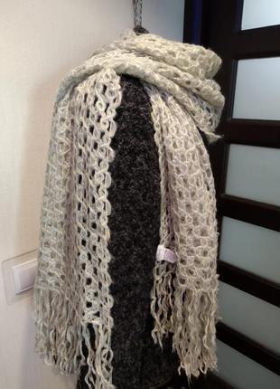 Отличный стильный теплый воздушный шарф палантин сетка