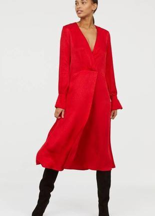 Платье от h&m с жаккардовым принтом ярко красное