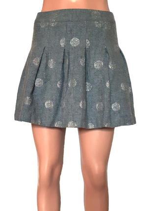 Шерстяная юбка-колокол в серебряный горох