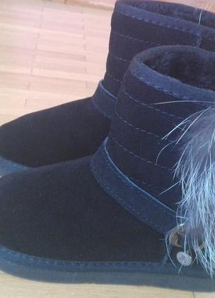 Зимові натуральні угги з чорнобуркою 22см стелька