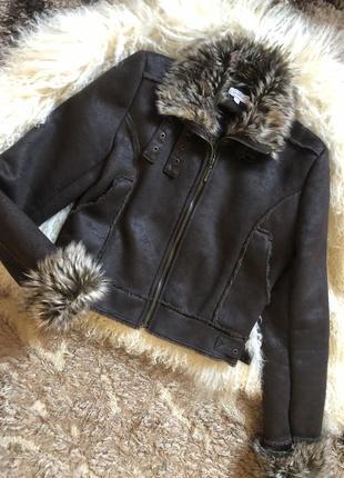 Дубленка пальто коричневая с искусственным мехом укороченная куртка демисезонная
