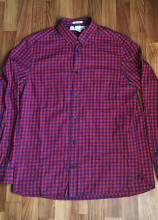 Рубашка красная в клетку h&m размер l