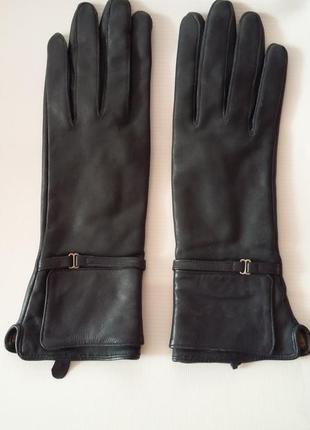 Женские кожаные перчатки темно синие размер s