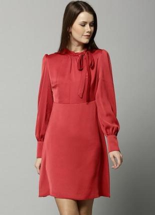 Брендовое красное нарядное вечернее миди платье с бантом m&s бангладеш