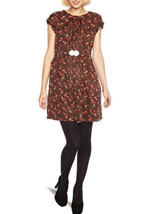 Коричневое нарядное миди платье с поясом и карманами mina uk принт цветы этикетка