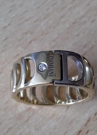 Золотое кольцо с бриллиантом domiani 8,6 гр, 18,5 размер