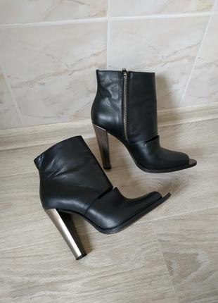 Женские ботинки на каблуке, кожаные ботильоны на каблуке, кожаные ботинки