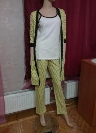 Хлопковая пижама с халатиком