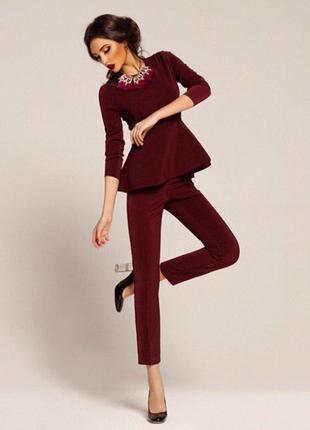 Дизайнерская кофта цвета марсала с баской от anna yakovenko