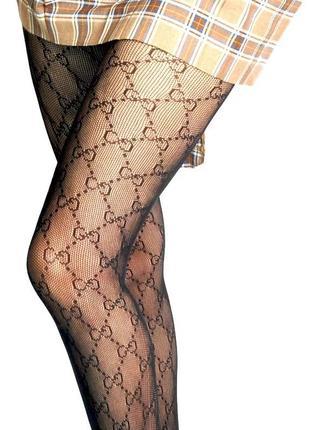 Чёрные колготки в сеточку колготы gucci люкс качество!