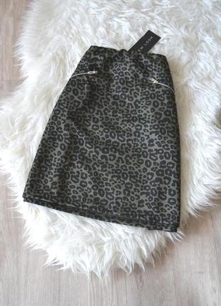 Новая юбка-трапеция в принт с молниями new look