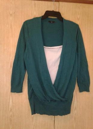 Хлопковая блузка - джемпер цвета морской волны,xl .