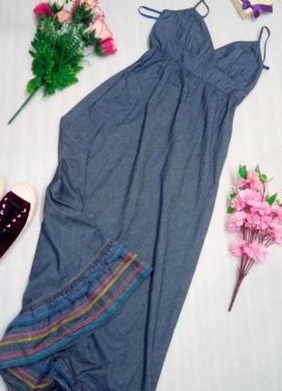 Крутое платье сукня  джинс длинное макси сукня синее из хлопка с вышивкой от next uk10