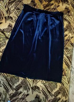 Потрясающая велюровая синяя юбка