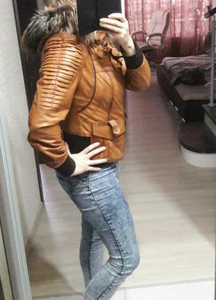 Кожаная куртка с натуральным мехом rubis.4 фото