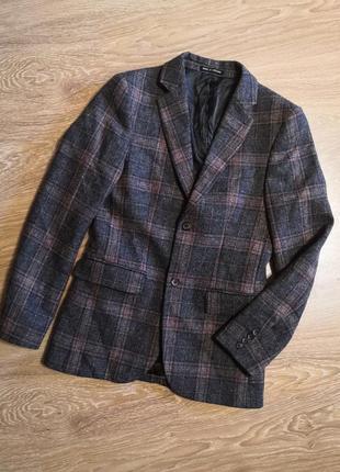 Шерстяной мужской пиджак в клетку англия topman