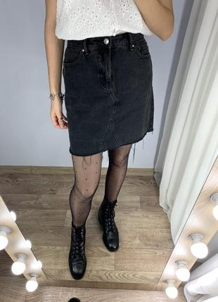 Джинсовая юбка с необработанным краем  denim co