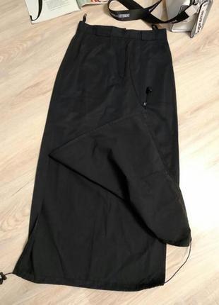 Стильная спортивная юбка карандаш макси черная