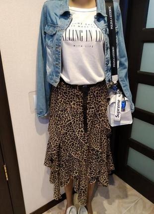 Отличная пышная юбка миди тончайшая летящая с леопардовым принтом