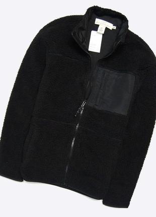 H&m xs-s / новая куртка-кофта на флисе шерпа, чёрная