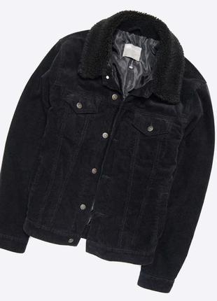 Asos m / чёрная вельветовая утеплённая куртка с мехом, шерпа, джинсовка