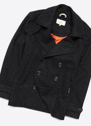 Superdry xl-xxl / мужской чёрный шерстяной бушлат, пальто, peacoat с воротом