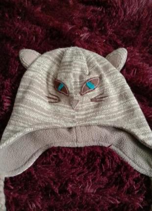 Теплая шапка кошка  кошечка  лыжная шапка