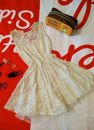 Платье кружевное фатиновая юбка сеточка