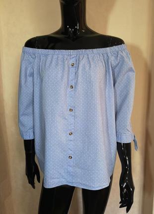 Блуза открытые плечи 100% хлопок f&f