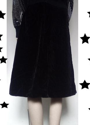 Черная бархатная юбка миди винтаж