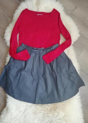 Кожаная юбка серая  + кофта