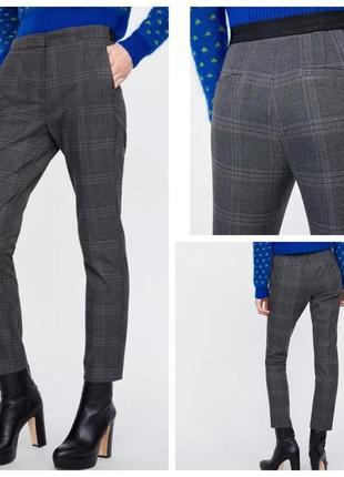 Стильные укороченные брюки, штаны zara, клетка