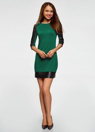 Платье с отделкой из искусственной кожи