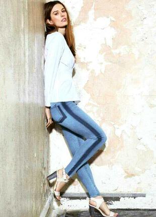 Крутые джинсы скинни с лампасами на высокой посадке от denim