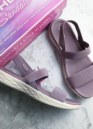 Skechers оригинал лиловые босоножки на резинках и платформе бренд из сша