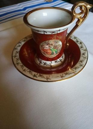 Старинная кофейная пара спор богинь мадонна фарфор eisenberg гдр германия