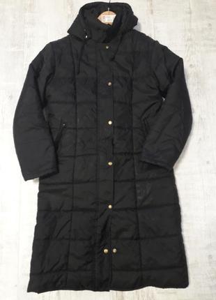 Длинное стеганое пальто теплое женское