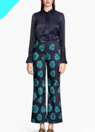 Штаны брюки кюлоты в цветочный принт h&m
