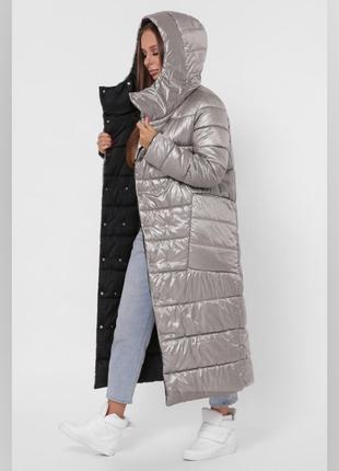 Двухсторонний пуховик одеяло куртка пальто зима на кнопках