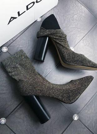 Aldo оригинал черно-золотистые туфли с носочком