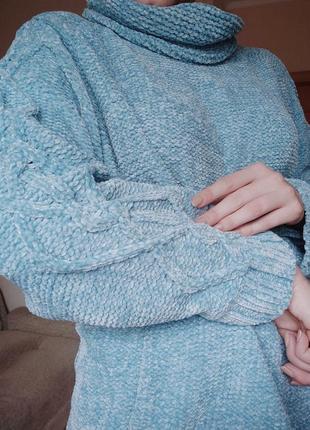 Очень мягкий голубой велюровый свитер оверсайз светр велюровий