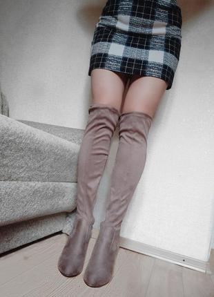 Кофейные ботфорты на каблуке под замш коричневые