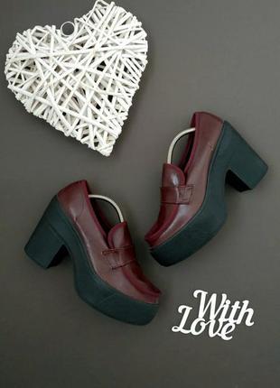 Лоферы туфли ботинки бордовые на каблуке topshop