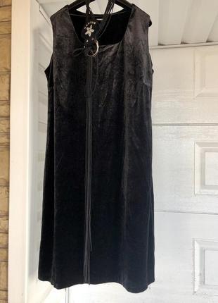 Актуальное велюровое чёрное платье миди + шикарный пояс в подарок 🎁