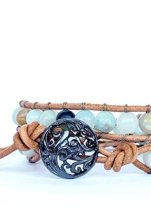 Спиральный браслет ручной работы чан лу chan luu из натуральных камней. амазонит