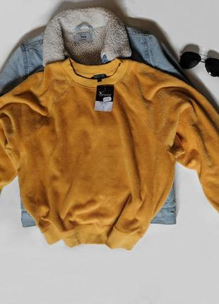 Желтый свитшот меховой жовтий худи світшот кофта на манжеті