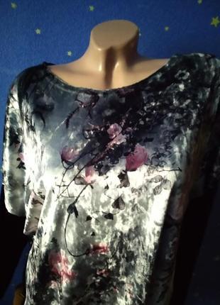Кофта туника  большого размера велюр принт цветы черный