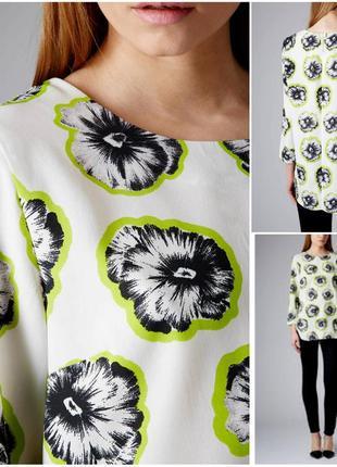 Стильная удлиненная блуза в цветы