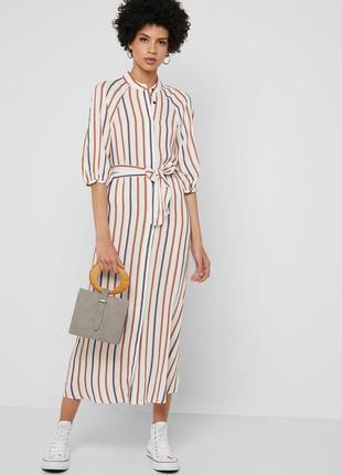 Стильное в принт платье рубашка вискоза в полоску